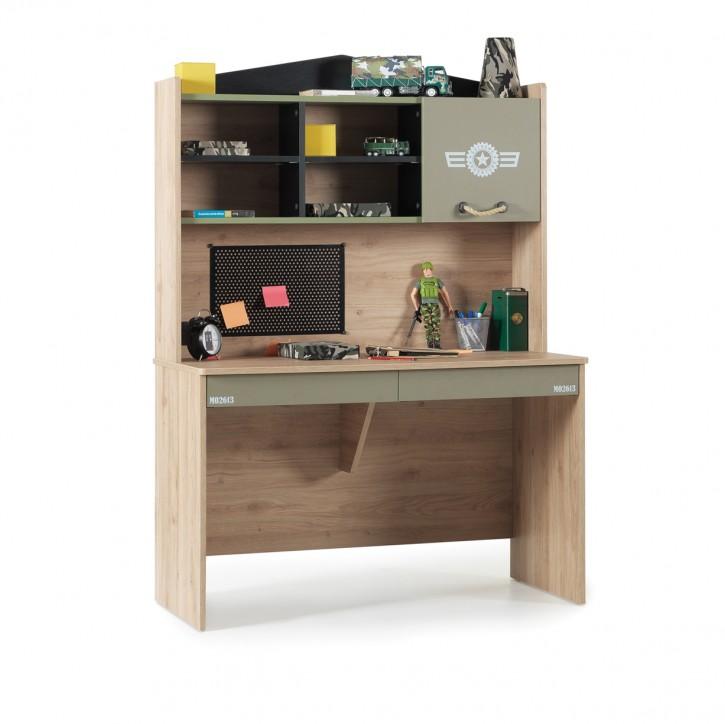 Schreibttisch mit Aufsatz Camp In Holz Braun mit Olivgrünen Design