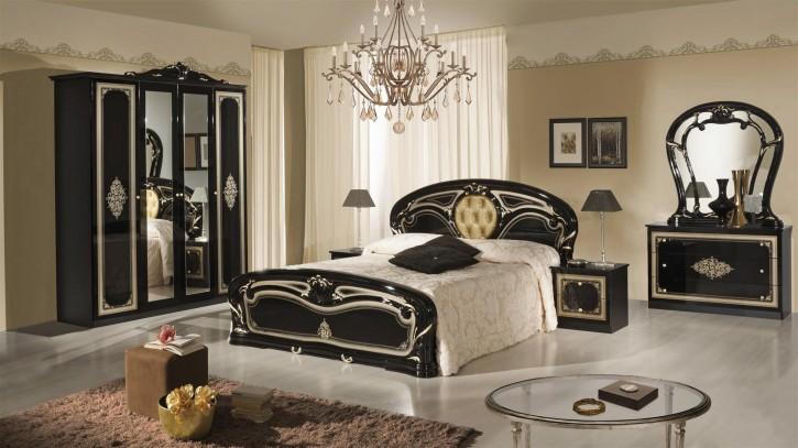 Schlafzimmer Christina in Schwarz Gold Klassisch Design