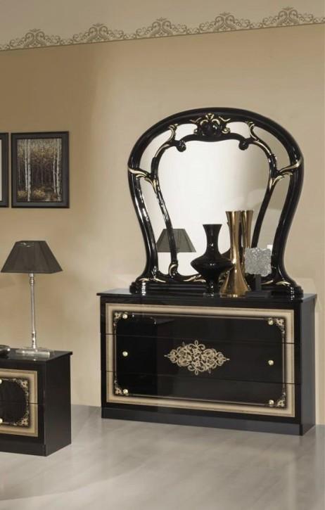 Kommode mit Spiegel Christina in Schwarz Gold Barock Design