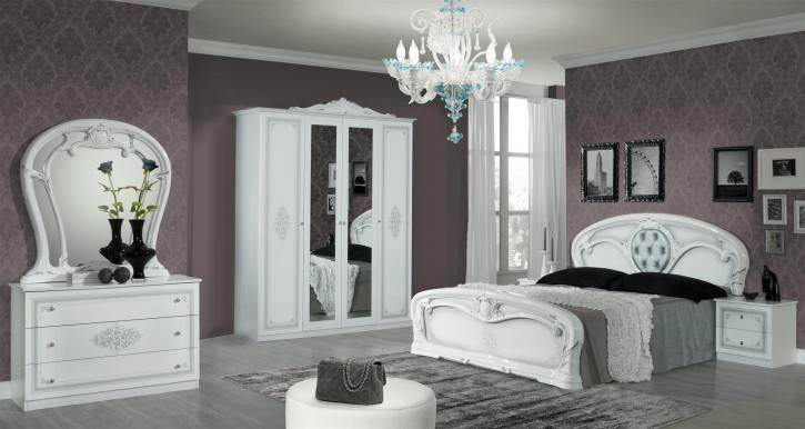 Schlafzimmer Christina in Weiß 6 teilig Klassisch Design