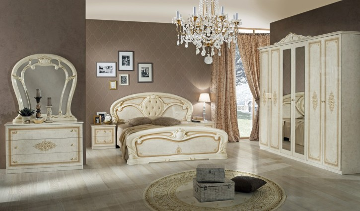 Schlafzimmer Christina in Beige Gold Barock Design