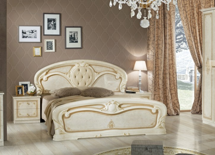 Bett Christina in Beige Gold Barock Design