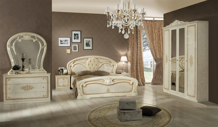 Schlafzimmer Christina in Beige Gold Klassisch Design