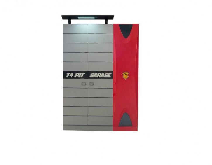 Kleiderschrank 3-türig Garage in Grau Rot