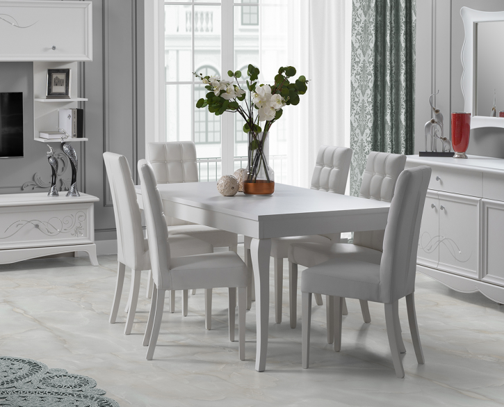 Giselle Esstisch mit 6 Stühlen in weiss Klassisch