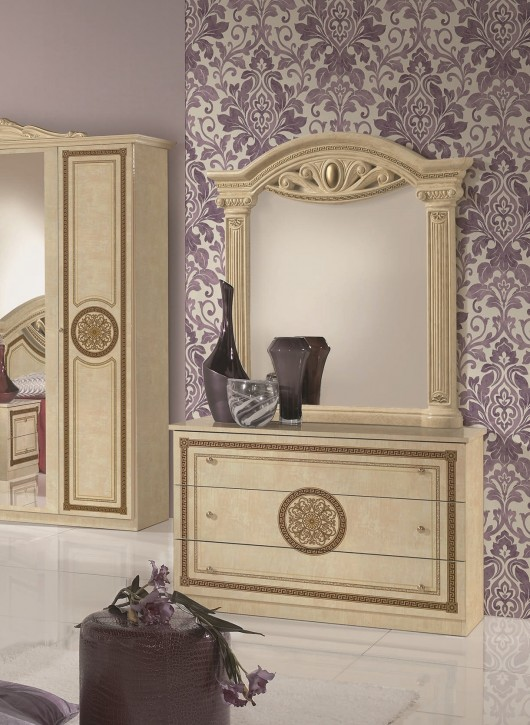 Kommode mit Spiegel GIULIA in Beige Gold  Klassik Barock
