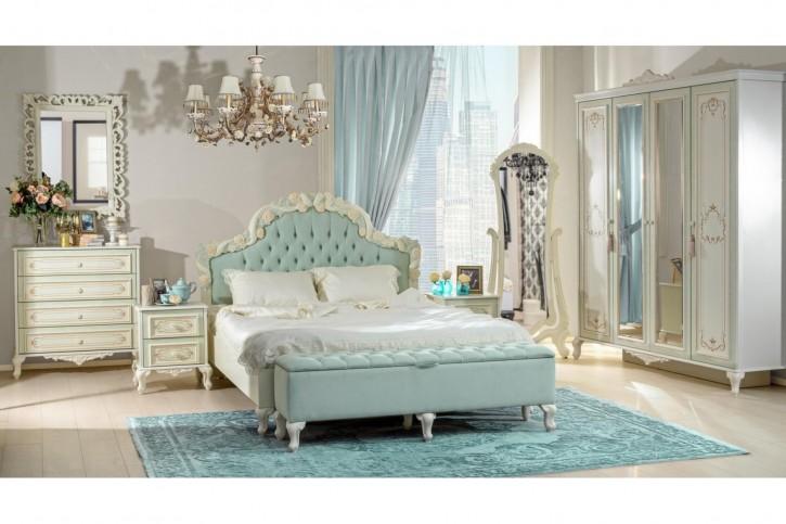 Schlafzimmer Louise mit 160 Bett in beige türkis Set