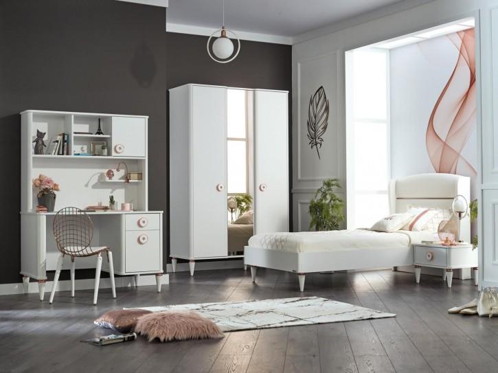 Jugendzimmer Set Bettina 5-teilig Weiß