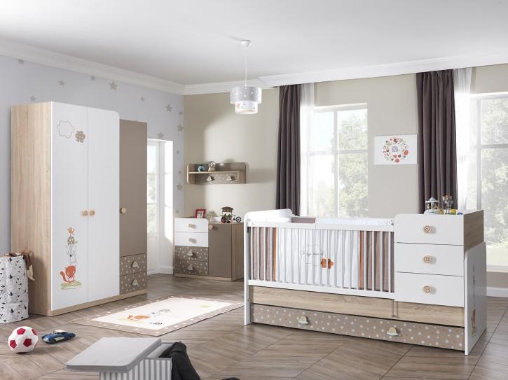 Babyzimmer Set Carino in Weiß Braun