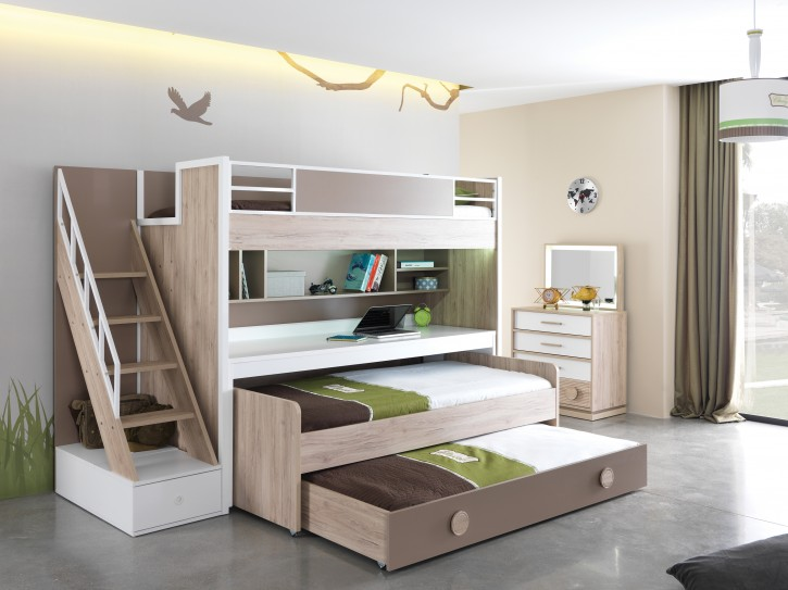 Etagenbett ALFA, 5 - teilig Kinderzimmer ohne Matratze