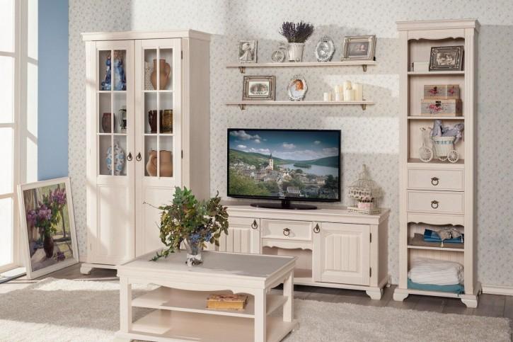 Wohnwand-Set Landhausstil in Creme Weiss 6-teilig Amelie