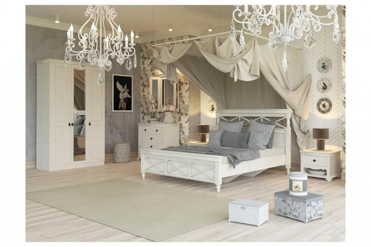 Schlafzimmer Komplett Amelie 6-Teilig Creme Weiß in Landhausstil
