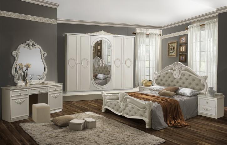 Schlafzimmer Set Letizia in Weiß Beige 160x200 cm