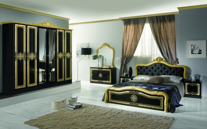 Schlafzimmer Set Lucy in Schwarz Gold