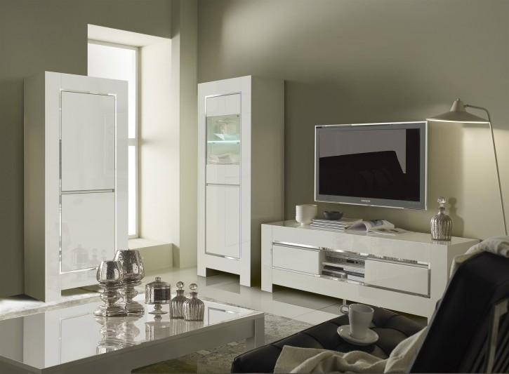 Wohnzimmerset Luna 3-teilig in Weiss Chrome Modern