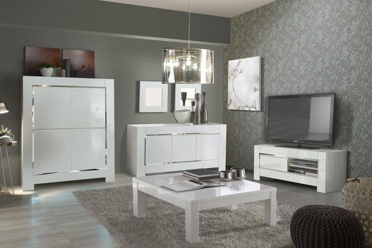 Wohnzimmerset Luna 4tlg in Weiss Chrome hochglanz