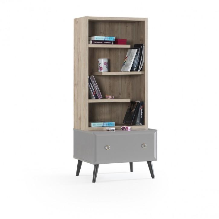Bücherregal Luna in Grau Holz Optik