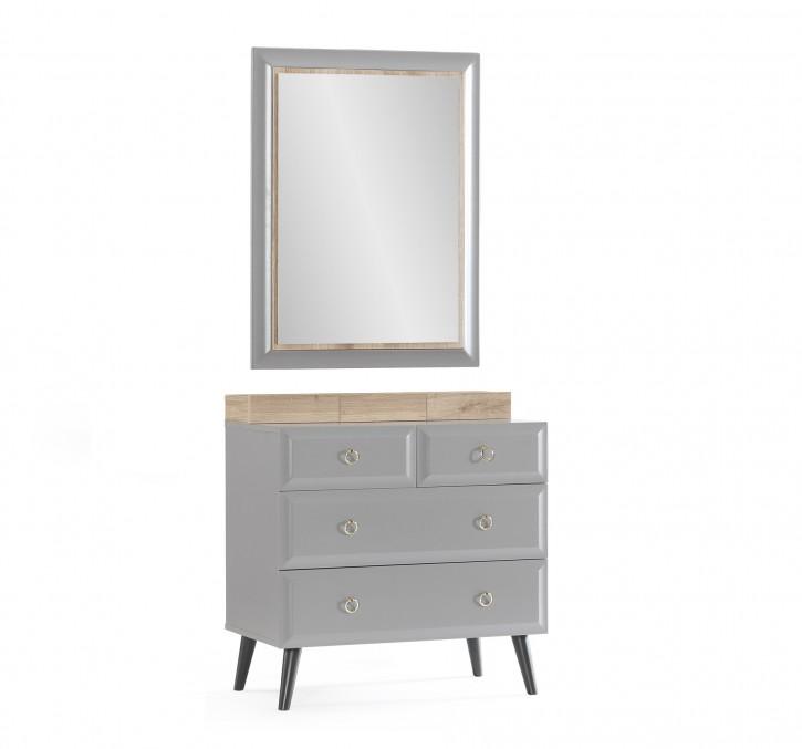 Luna Wäschekomode mit Spiegel in Grau