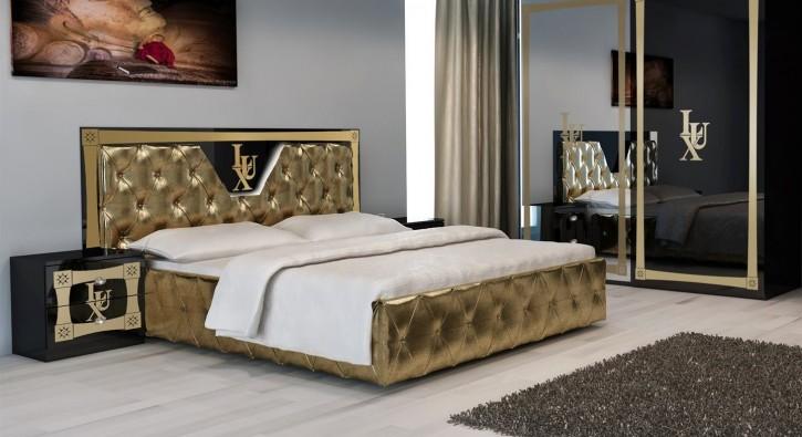 Bett Lux 160x200cm in Gold Schwarz Luxus