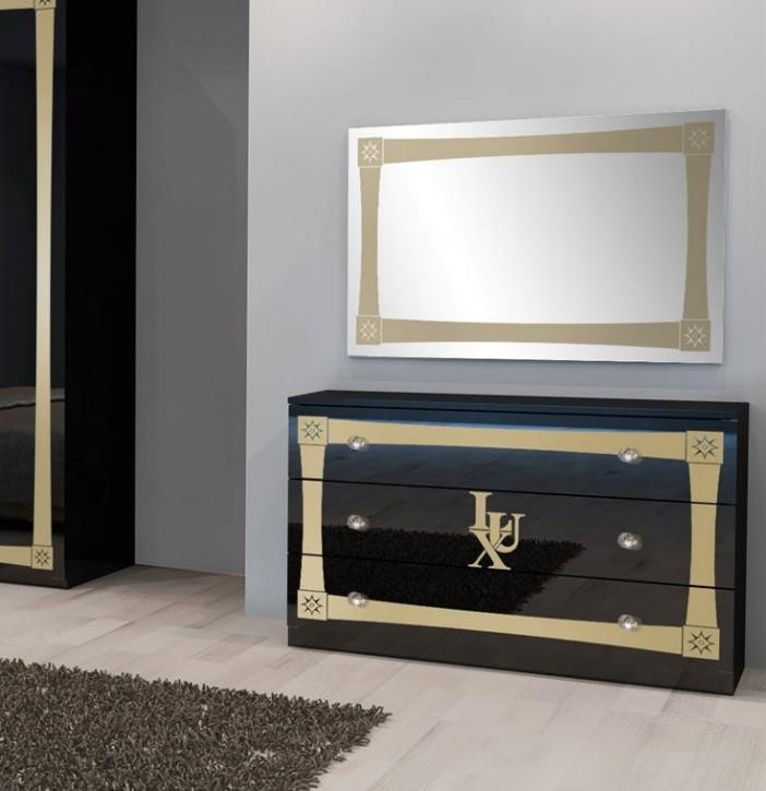 Kommode mit Spiegel Lux in Schwarz Gold Luxus