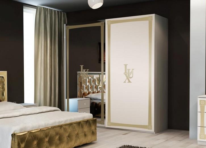 Schiebetürenschrank 2-trg Lux in Weiss Gold Luxus