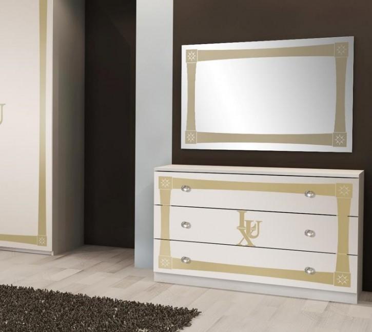 Kommode mit Spiegel Lux in Weiss Gold Luxus