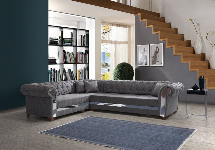 Ecksofa Miray in Grau Modern Design