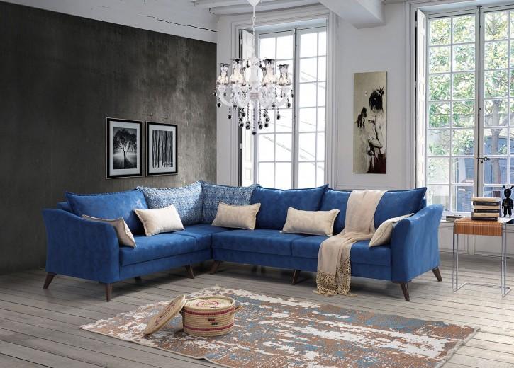 Ecksofa Okyan in Blau Klassisch Design