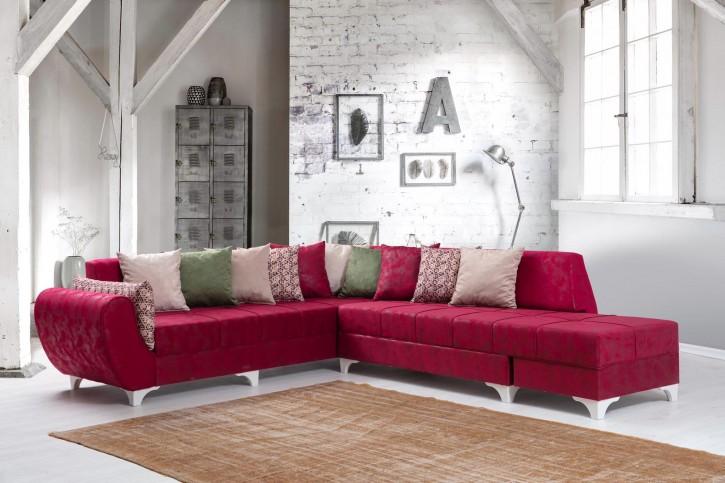 Ecksofa Platin in Rot Klassisch Design
