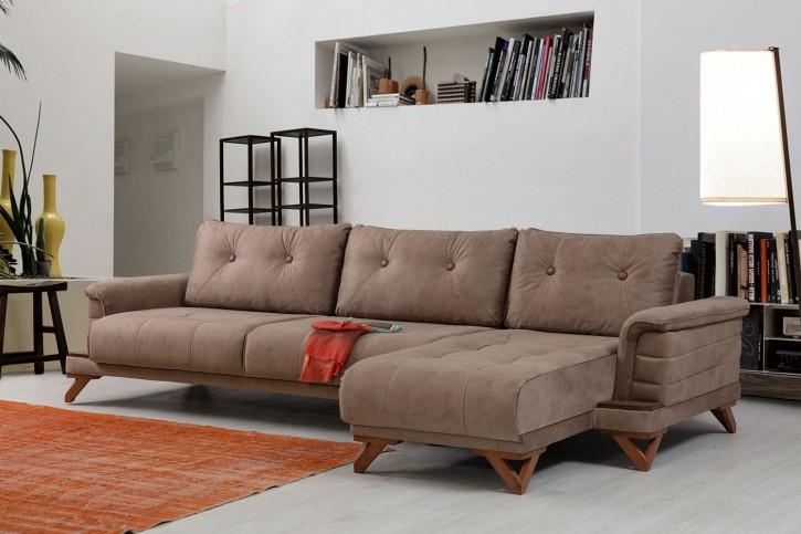 Ecksofa Roze in Braun Modern Design