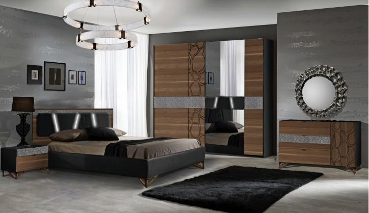 Schlafzimmer Set Mercury in  Schwarz / Walnuss