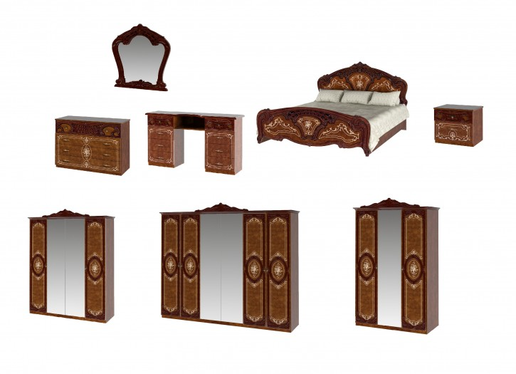 Schlafzimmer Rozza in Walnuss klassisch Barock Komplett