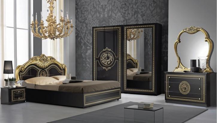 Schalfzimmer Set Dolores in Schwarz Gold 160x200 cm / mit Lattenrost 26 Leisten