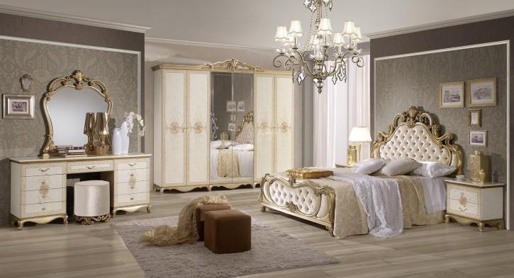 Schlafzimmer Set Tatjana 8 teilig in Beige Gold