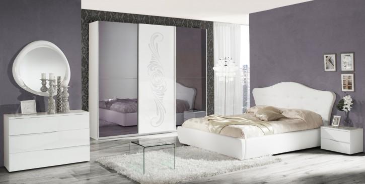 Schlafzimmer Set VALENTINA in Weiss 160x200 cm / ohne Kommode und Spiegel / mit Lattenrost 26 Leisten + Mittelzonenverstärkung