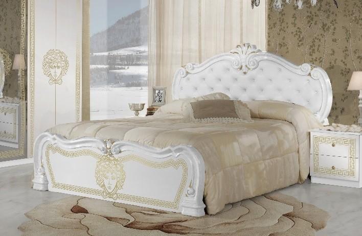 Bett Vilma Medusa 160x200 cm in Weiß Barock Design mit Polsterung