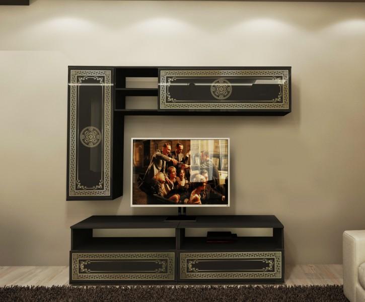 Wohnwand mit Fernsehtisch Lux in Schwarz Gold Elegant