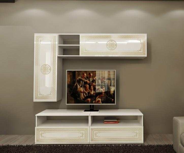 Wohnwand mit Fernsehtisch Lux in Beige Gold Elegant