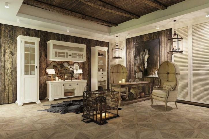 Wohnzimmer Set 3 Amelie Landhaus in Creme Weiss