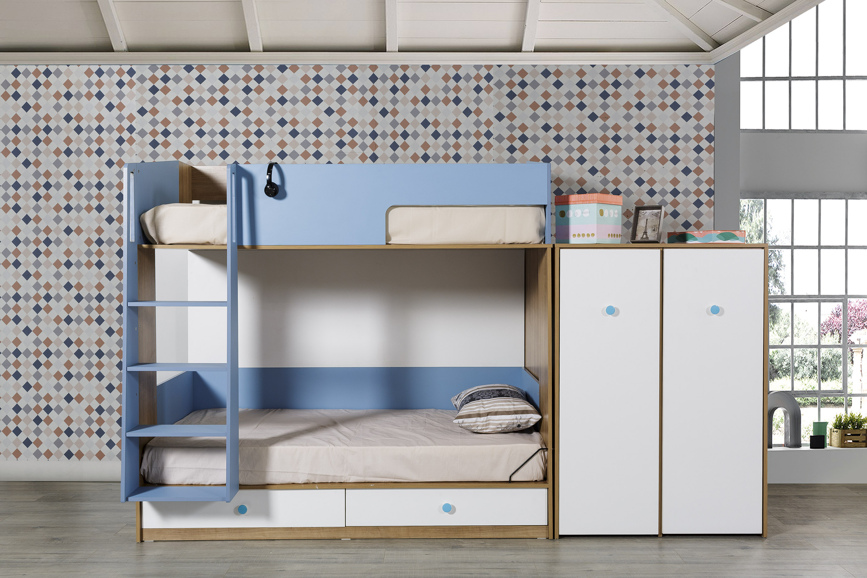 Kinderzimmer Hochbett komplett Smart 2-teilig Modern