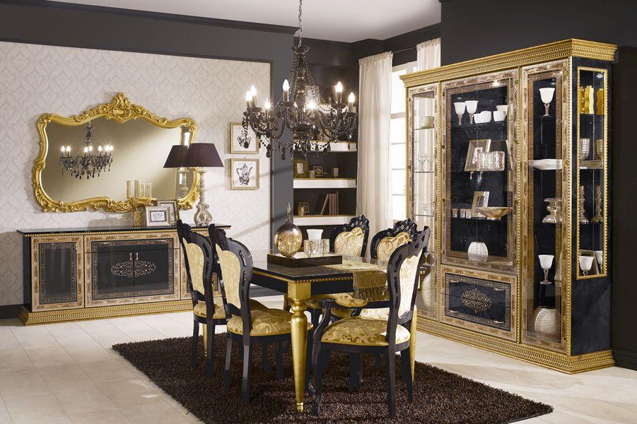 Schlafzimmer Jenny Black Schwarz Gold Schrank 4 Türig Mit Spiege .