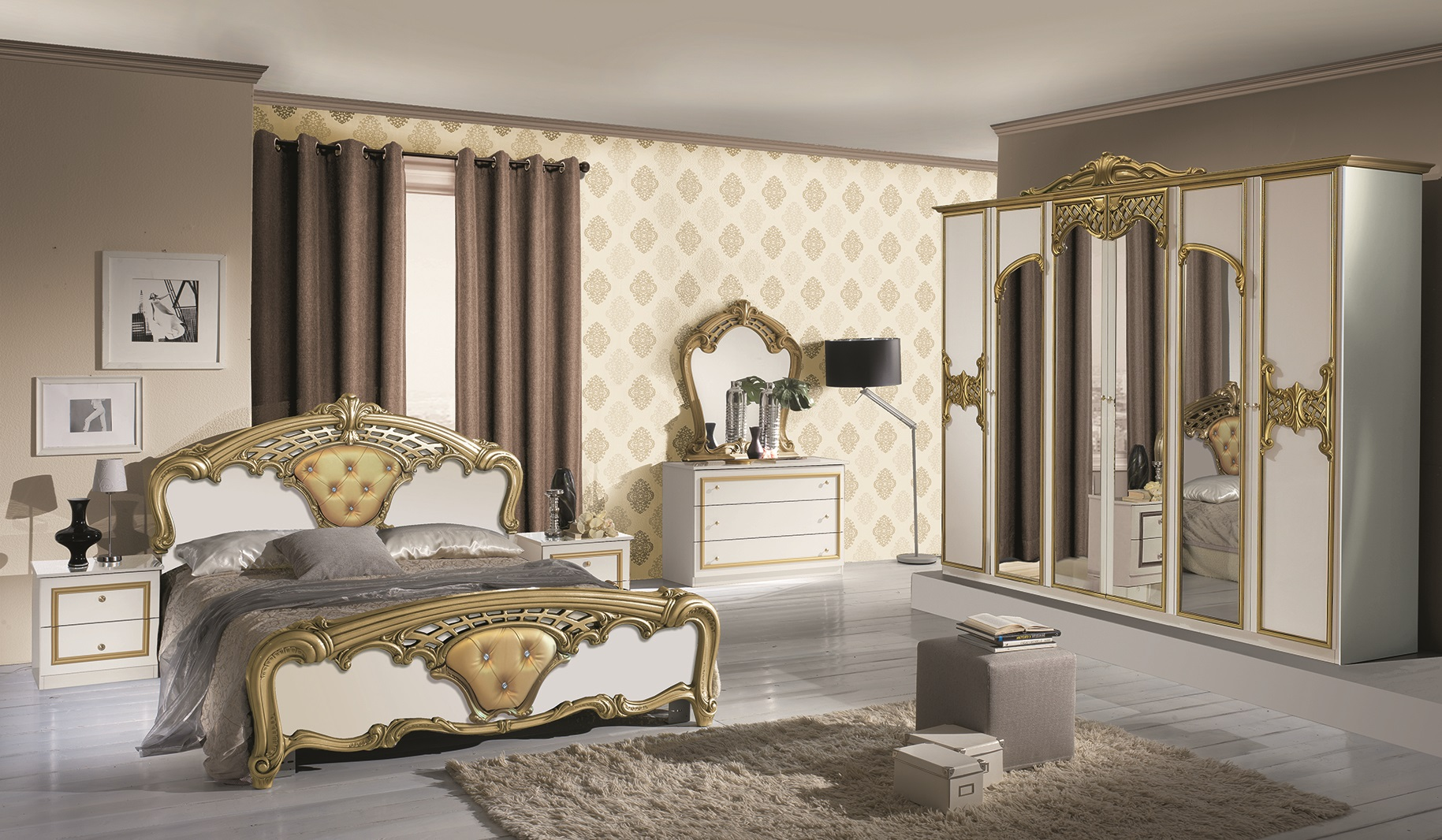 schlafzimmer elisa in weiss gold 6 t rig luxus. Black Bedroom Furniture Sets. Home Design Ideas