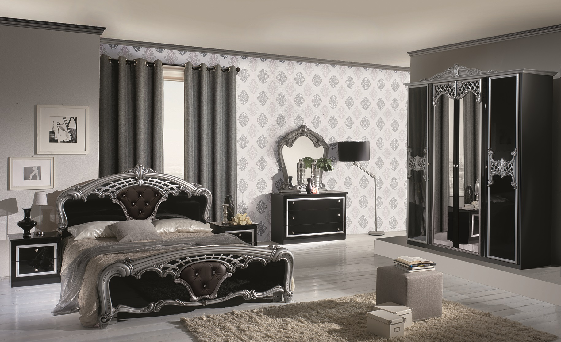 schlafzimmer elisa in weiss gold 6 t rig luxus italienische m be dh ev b g s 6a2x2. Black Bedroom Furniture Sets. Home Design Ideas