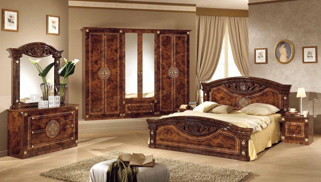 Schlafzimmer Rana Creme Beige 6-Türig Schrank 180 Bett Design Lu