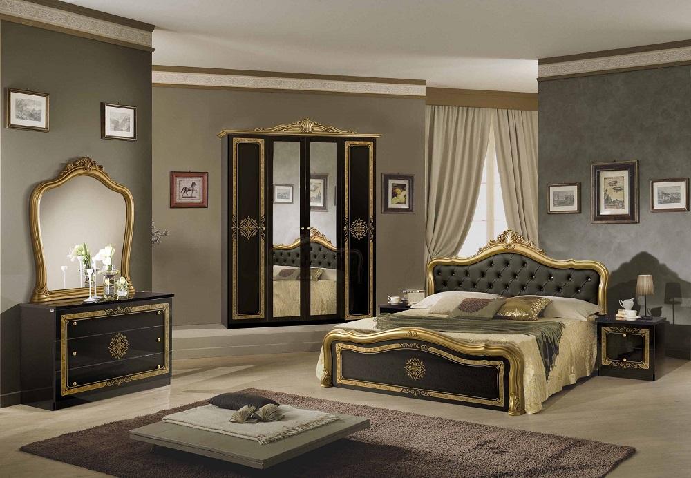 Schlafzimmer Set Lucy in Schwarz-Gold 180x200 cm / mit Schrank 4 türig /  ohne Kommode und Spiegel / ohne Lattenrost