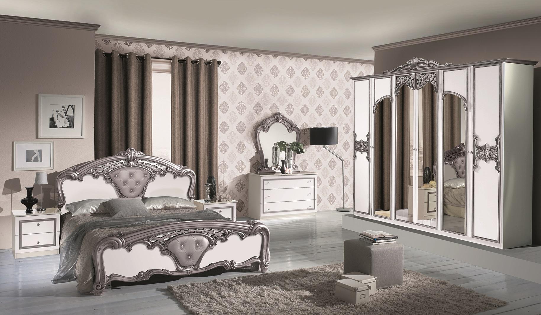 Schlafzimmer weiss silber for Italienische schlafzimmermobel hersteller