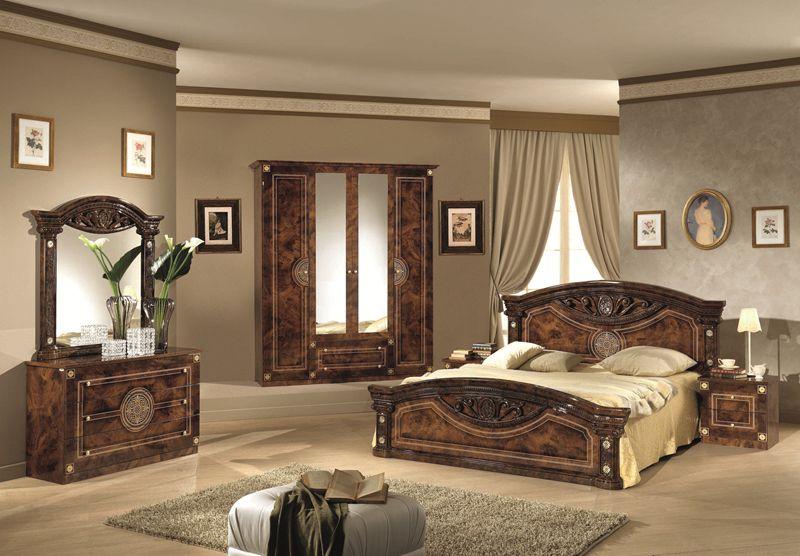 Bett 180 x 200 cm Rana walnuss Klassiche Schlafzimmermöbel-LE-R/RN ...
