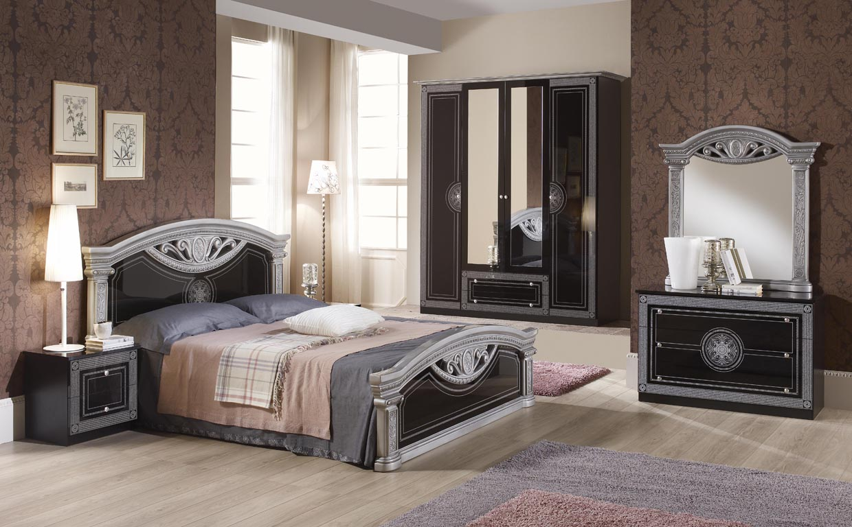 schlafzimmer rana in schwarz gold 180 bett 6 trg klassik. Black Bedroom Furniture Sets. Home Design Ideas