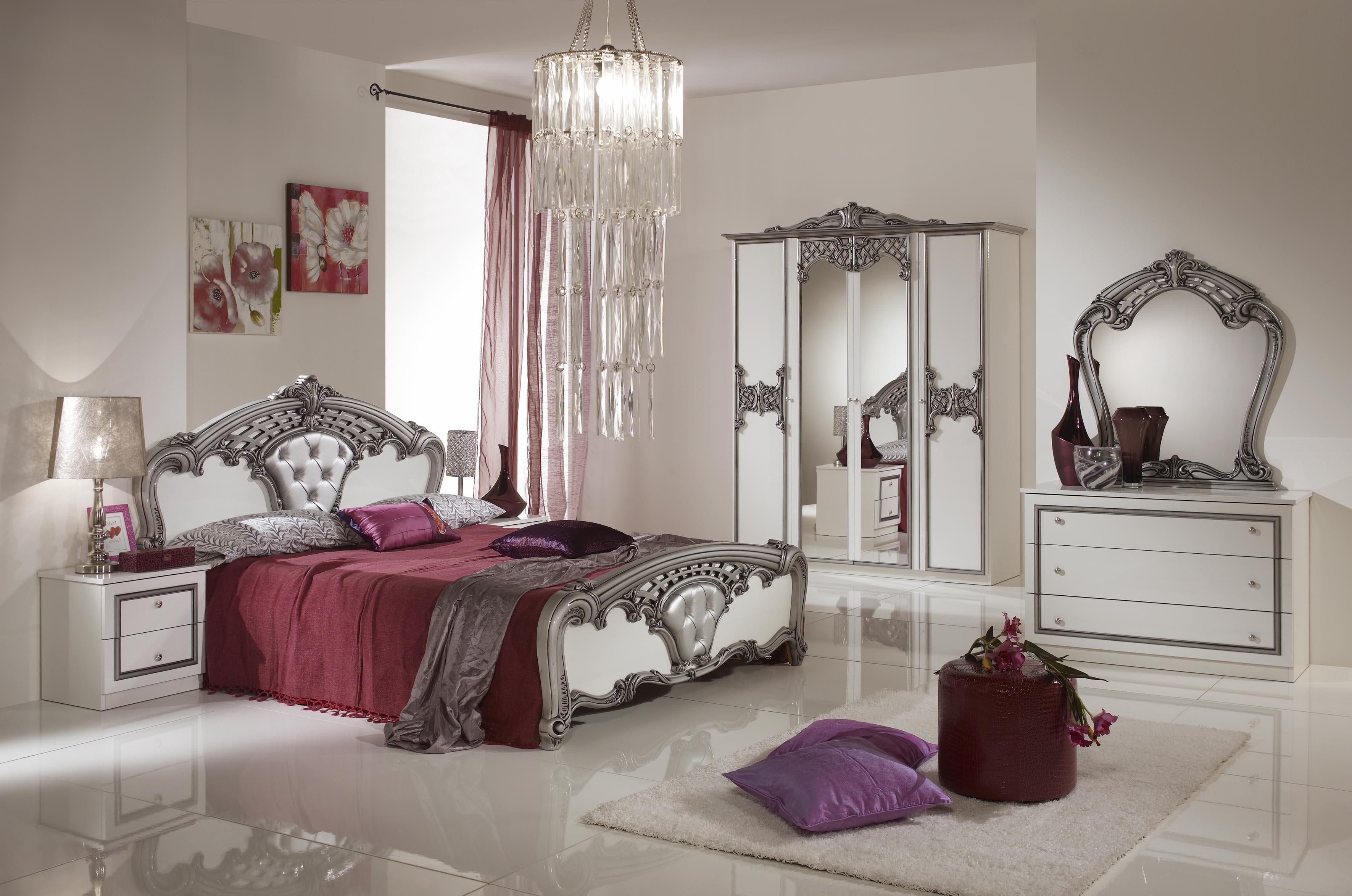 Schlafzimmer Elisa weiss Silber 160 x 200 cm Klassisch Royal Sti-DH ...
