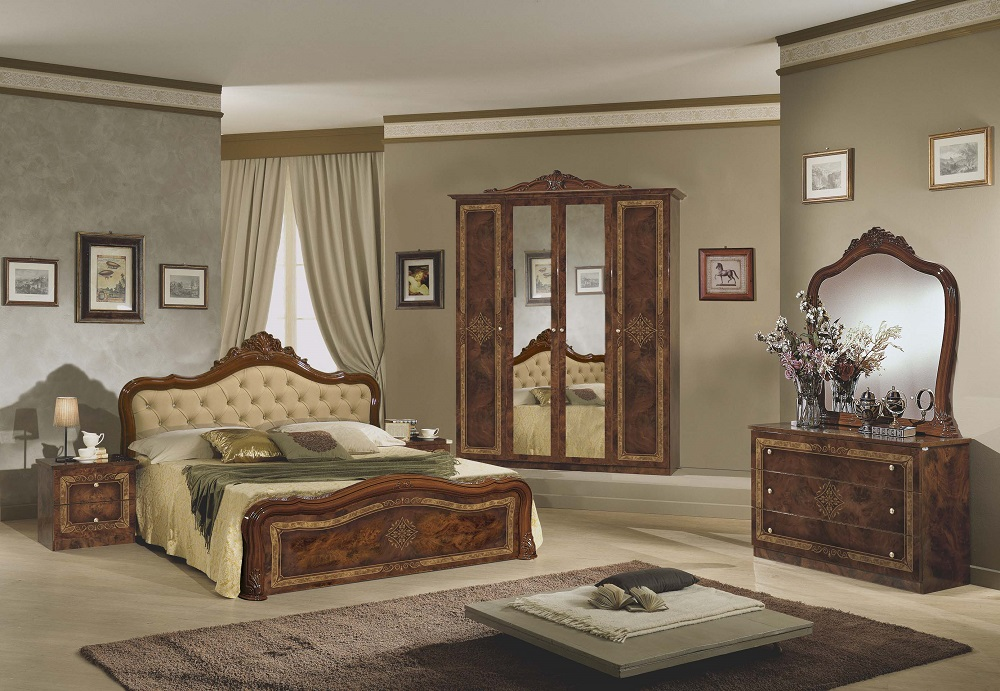 Schlafzimmer Lucy walnuss 180x200cm Kleiderschrank 4trg Italien -DH ...